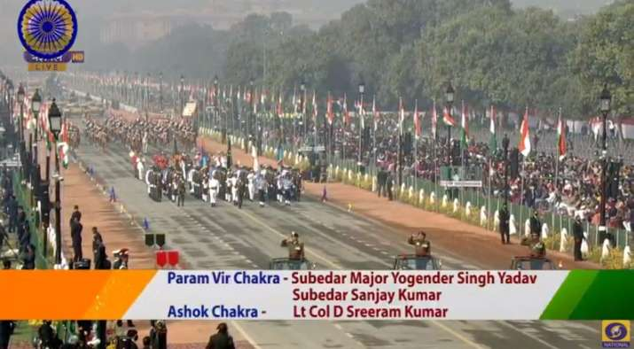 India Tv - Winners of the Param Vir Chakra and the Ashok Chakra parade down Rajpath.