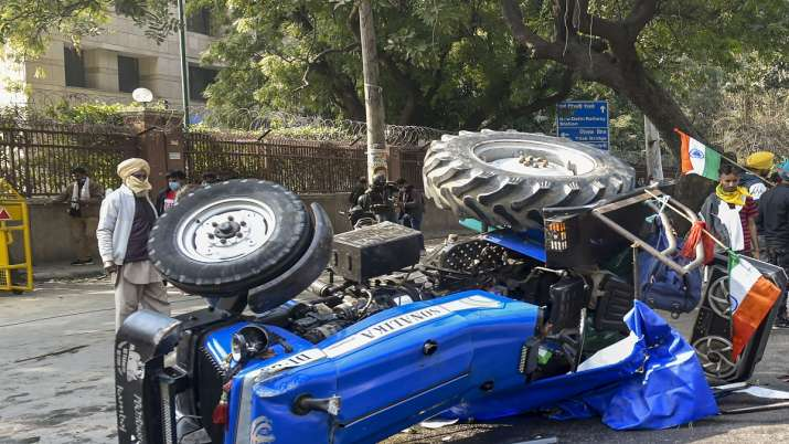 Who was Navreet Singh farmer returned from Australia died at ITO tractor overturned video