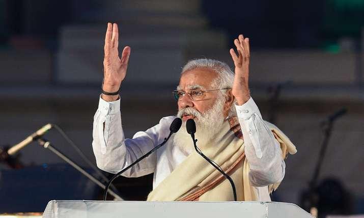Prime Minister Narendra Modi addresses during 125th birth anniversary of Netaji Subash Chandra Bose,