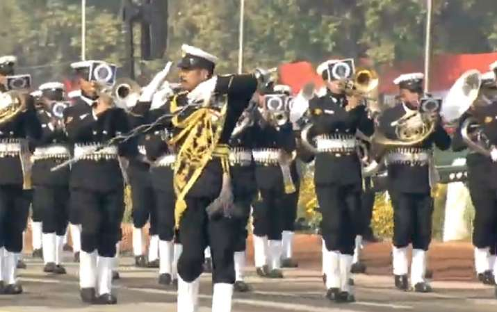 India Tv - Naval Brass Band led by Sumesh Rajan, Master Chief Petty Officer (Musician), playing the Indian Navy