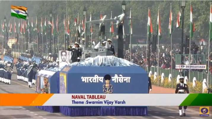 India Tv - Indian Navy's tableau with the theme of 'Swarnim Vijay Varsh' being displayed at Republic Day parade