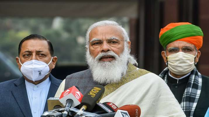 Prime Minister Narendra Modi addresses media personnel as