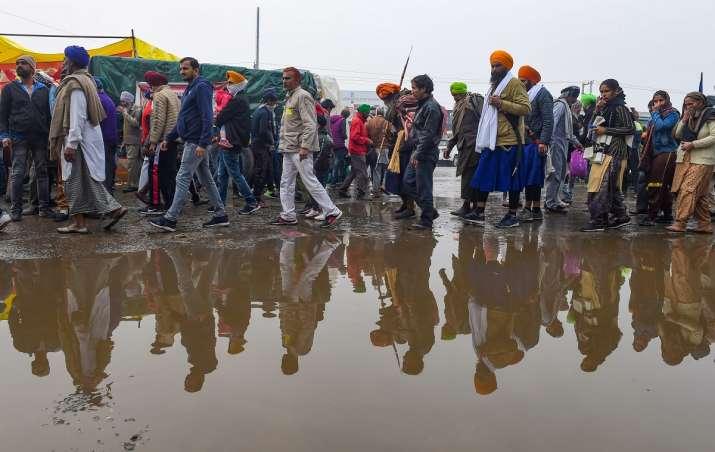 Farmers protest Delhi heavy rains farmers agitation Singhu border | India  News – India TV