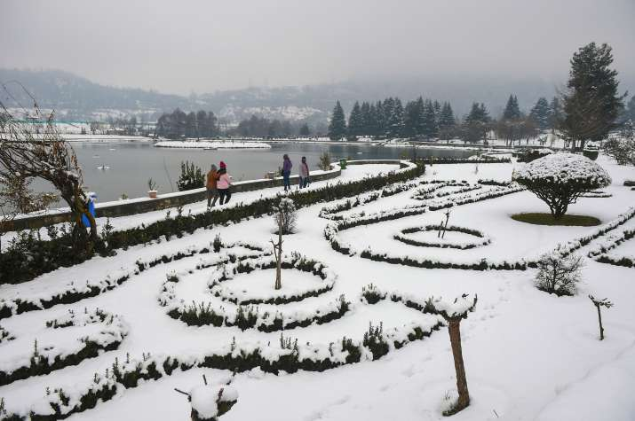 Srinagar: A snow covered park after heavy snowfall, in