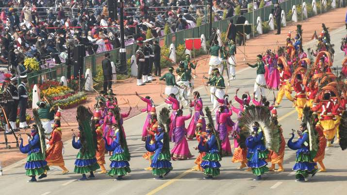 India Tv - New Delhi: School children perform during the 72nd Republic Day Parade at Rajpath, in New Delhi, Tuesday, Jan. 26, 2021.