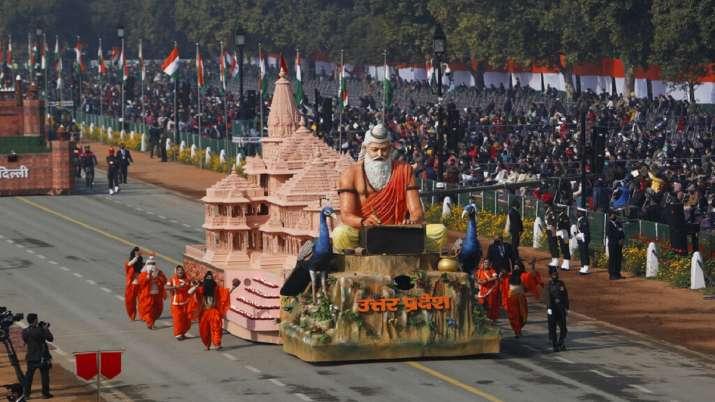 Lucknow: A tableau of Uttar Pradesh Tourism department