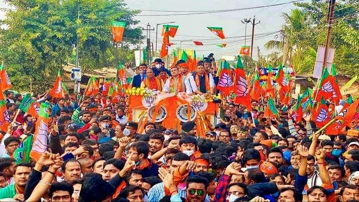 BJP leader Suvendu Adhikari during a roadshow from Mecheda
