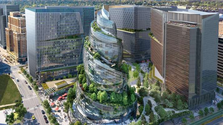 Proposed design of Amazon's upcoming second headquarters in