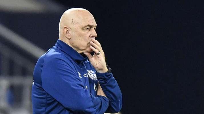 Schalke's head coach Christian Gross watching during the