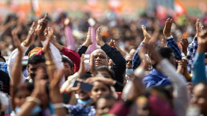 Crowd during a political rally in Dhekiajuli, Assam.