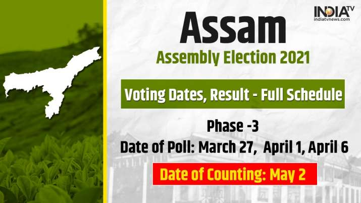 Assam assembly elections to be held in 3 phases.