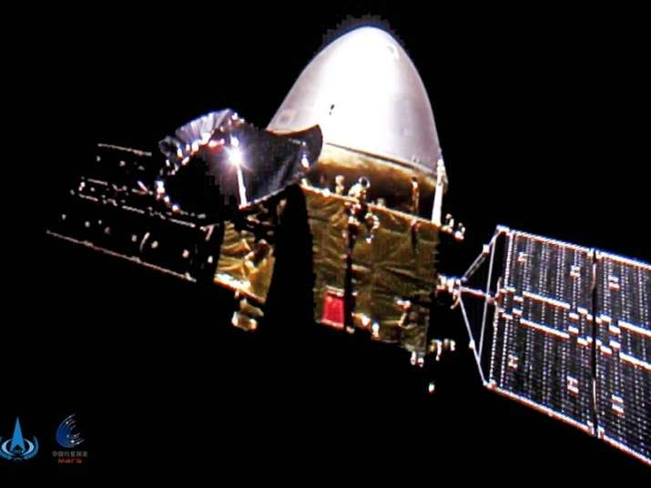 The China National Space Administration shows the Tianwen-1 probe en route to Mars.