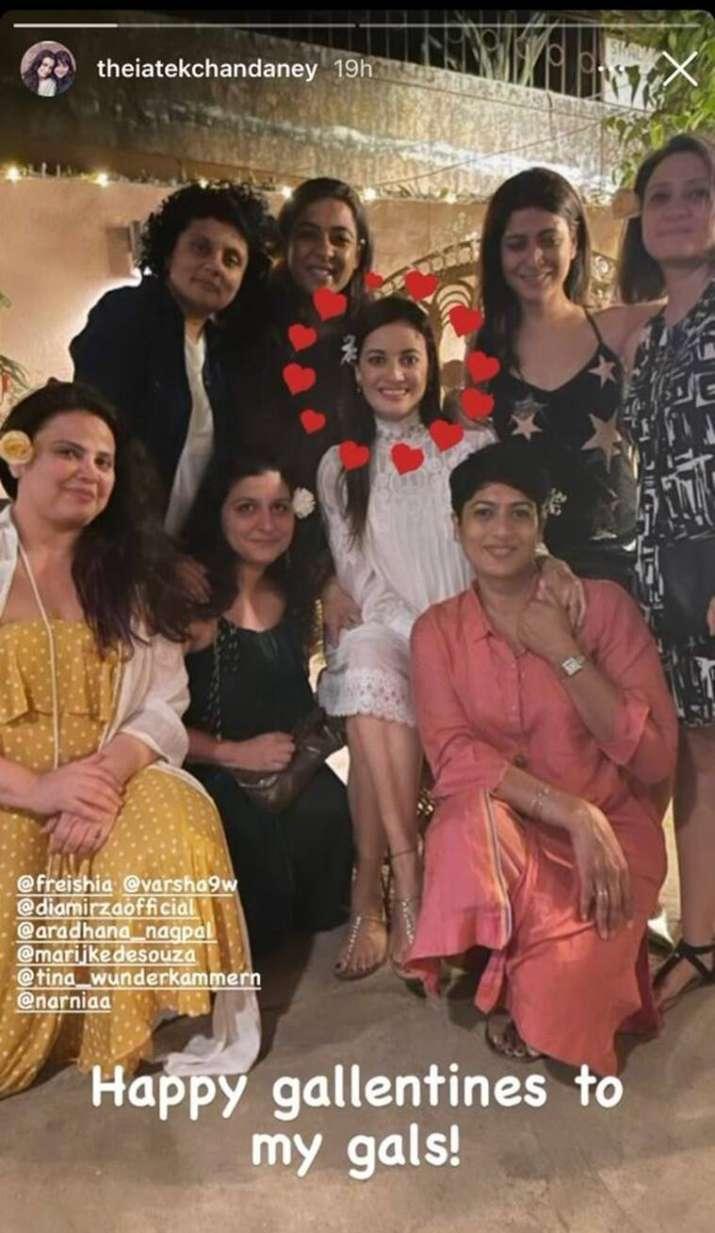 India Tv - Dia Mirza-Vaibhav Rekhi wedding festivities begin; actress flaunts mehendi   see pics