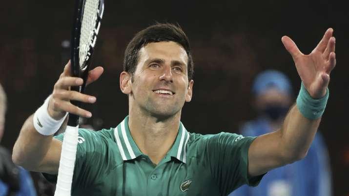 Serbia's Novak Djokovic celebrates after defeating France's