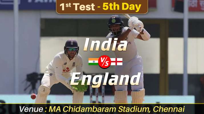 Live Score India vs England 1st Test Day 5 Follow IND vs ENG Live Updates from MA Chidambaram Stadiu