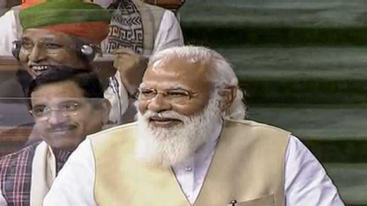 Prime Minister Narendra Modi speaks in the Lok Sabha during