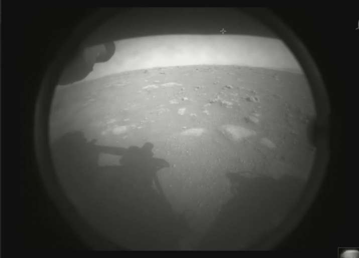 Perseverance rover showing the surface of Mars, just after landing in the Jezero crater, on Thursday