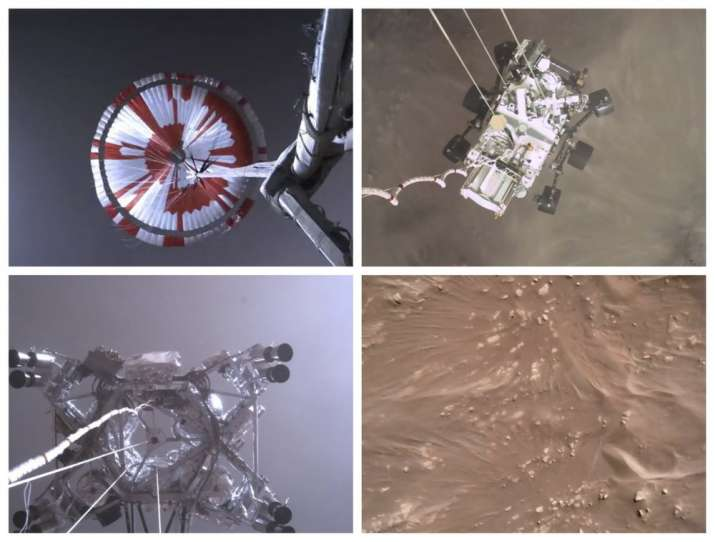 This combination of images from video made available by NASA shows steps in the descent of the Mars