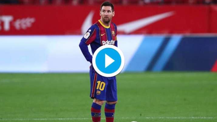 Watch Sevilla Gatecrash Lionel Messi S Party With Copa Del Rey Semis 1st Leg Win Over Barcelona Football News India Tv