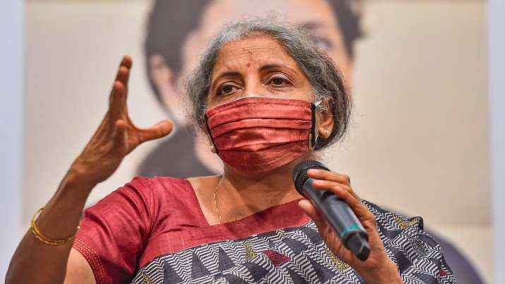 Union Finance Minister Nirmala Sitharaman speaks during the