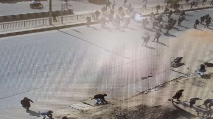 A CCTV grab showing the northeast Delhi riots which took
