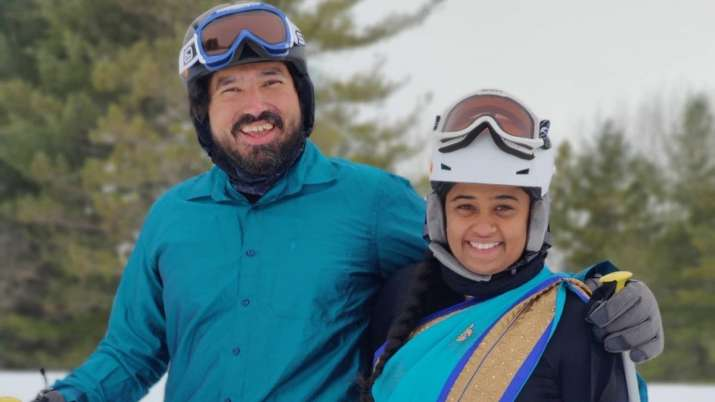 Viral video of NRI couple skiing in saree and dhoti in the US impresses netizens