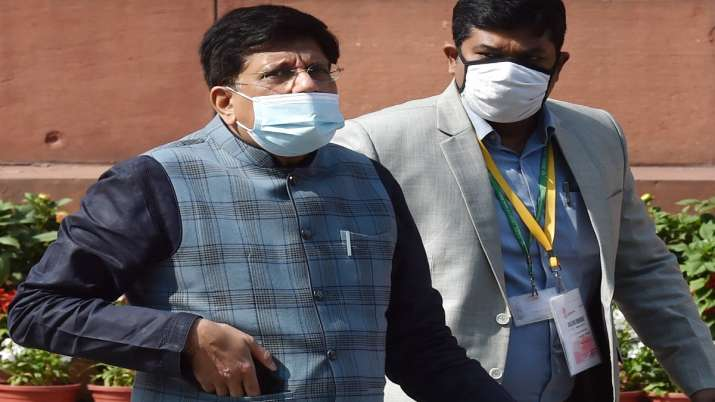 Union Minister Piyush Goyal in Parliament during the Budget