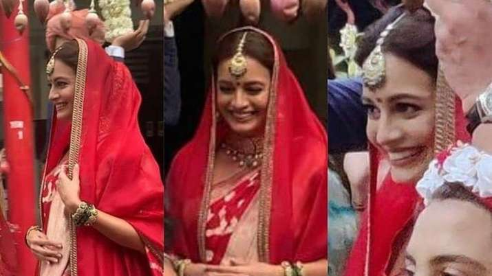 Dia Mirza's first wedding pics out, actress looks stunning in red ensemble | see pics