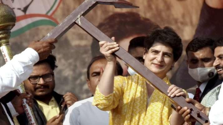 Congress General Secretary Priyanka Gandhi Vadra being