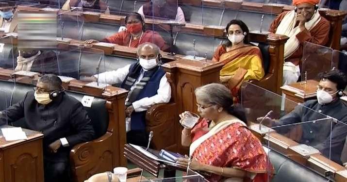 India Tv - New Delhi: Union Finance Minister Nirmala Sitharaman at Lok Sabha during the Budget Session of the Parliament, in New Delhi, Monday, Feb. 1, 2021. (LSTV/PTI Photo)