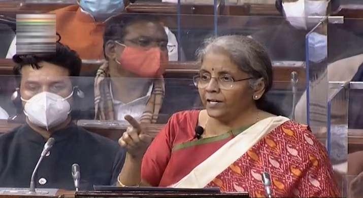 India Tv - New Delhi: Union Finance Minister Nirmala Sitharaman speaks at Lok Sabha during the Budget Session of the Parliament, in New Delhi, Monday, Feb. 1, 2021.