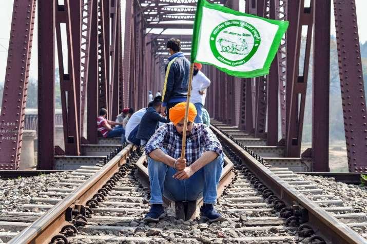 Ambala: Protesting farmers block railway tracks as part of