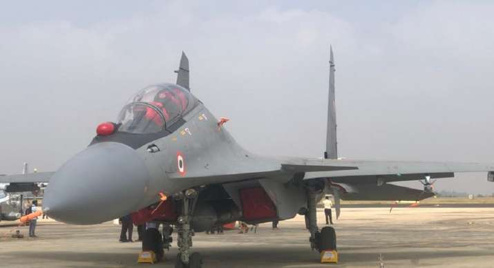 India Tv - Indian Air Force Su-30MKI fighter jet equipped with an air-launched version of the BrahMos supersonic cruise missile is on display at Aero India show in Bengaluru. One dedicated squadron of the Air Force is equipped with these missiles which can strike targets at over 400-km.