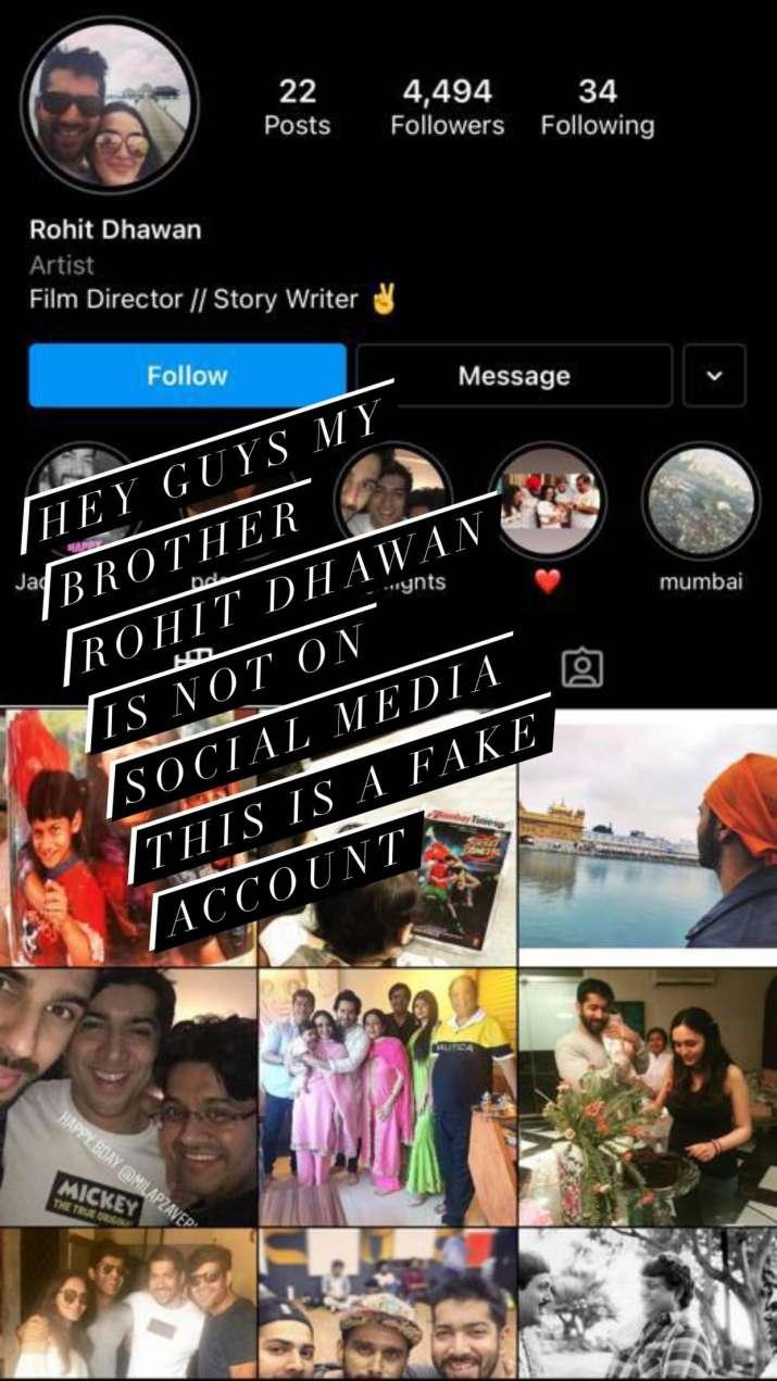 India Tv - Varun Dhawan warns fans about brother Rohit Dhawan's fake social media account