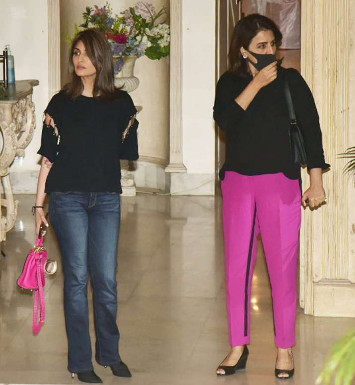 India Tv - Neetu Kapoor & daughter Riddhima outside the Kapoor mansion on Sunday.