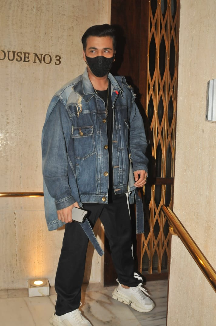 India Tv - Karan Johar clicked outside Manish Malhotra's residence on Saturday