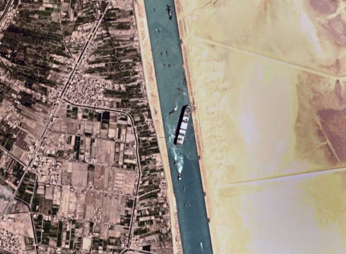 This satellite photo from Planet Labs Inc. shows the Ever