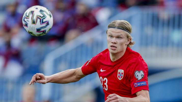 Norway's Erling Haaland controls the ball during a World