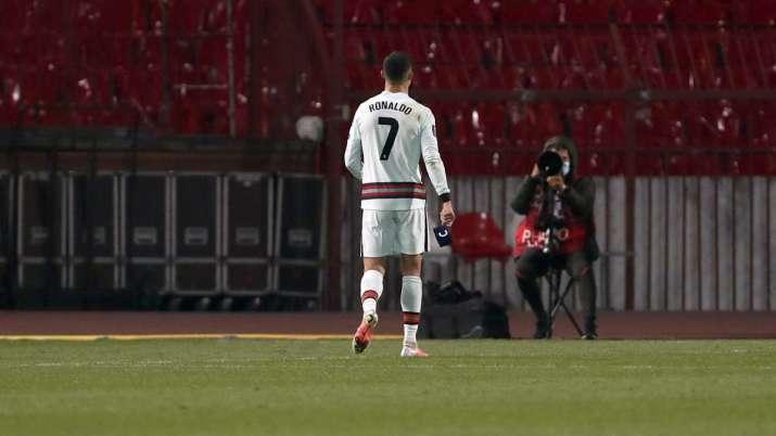 Portugal's Cristiano Ronaldo holds the captain's armband,
