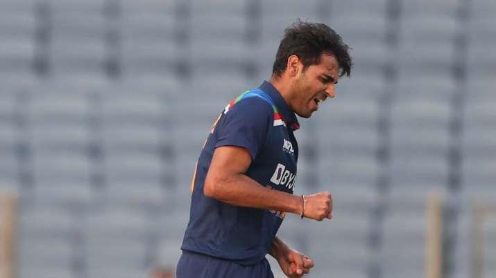 Bhuvneshwar Kumar of India celebrates after taking the