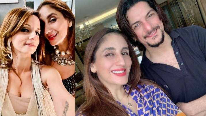Farah Khan Ali with sister Sussanne Khan and former husband DJ Aqeel