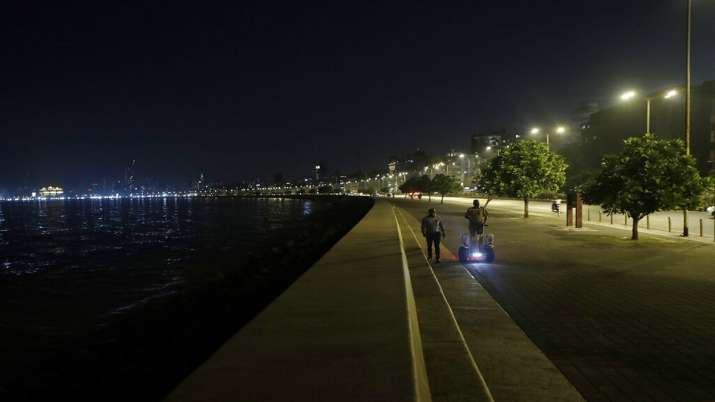 A police officer patrols on a Segway on the Marine Drive