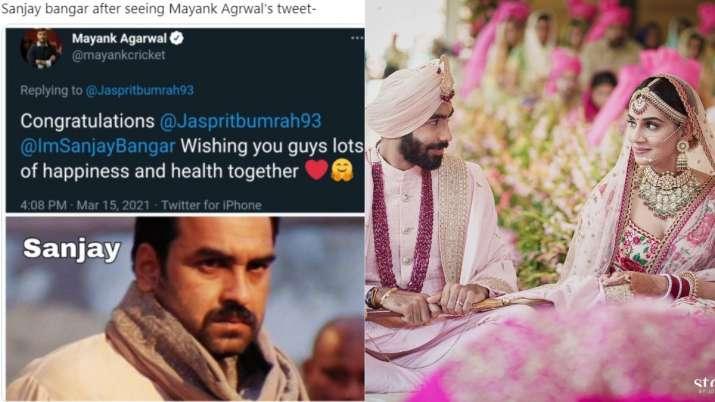 Mayank Agarwal tags Sanjay Bangar instead of Jasprit Bumrah's wife Sanjana in wedding post