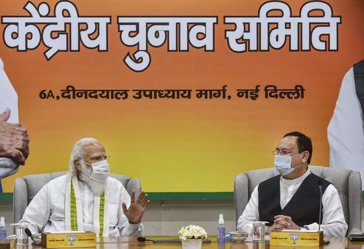 PM Modi, JP Nadda at BJP CEC on Saturday.