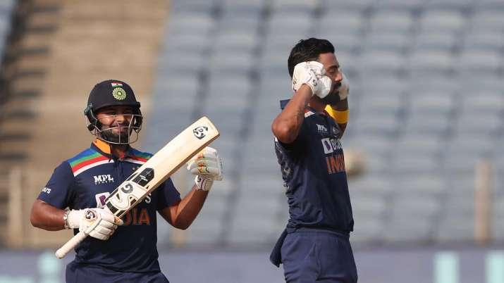 India batsman Rishabh Pant looks on as KL Rahul celebrates
