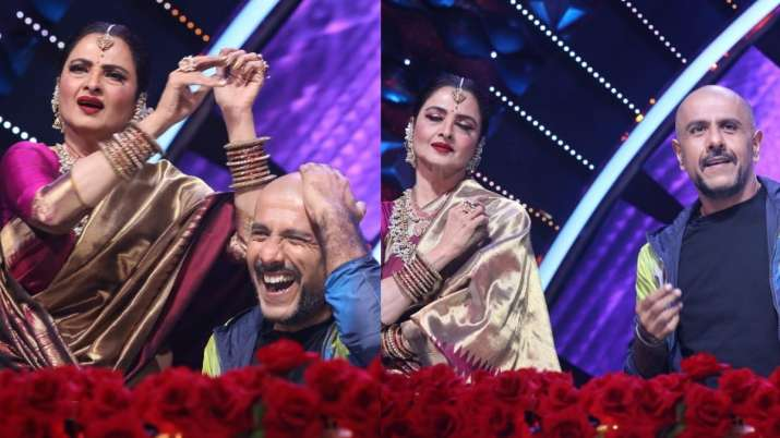 Indian Idol 12: After Neetu Kapoor, Rekha graces reality show; plays tabla on Vishal Dadlani's head