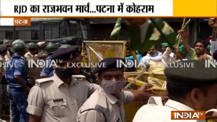 rjd workers protest, rjd protest in patna