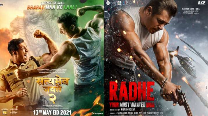 Posters of Satyamev Jayate 2 and Radhe: Your Most Wanted Bhai