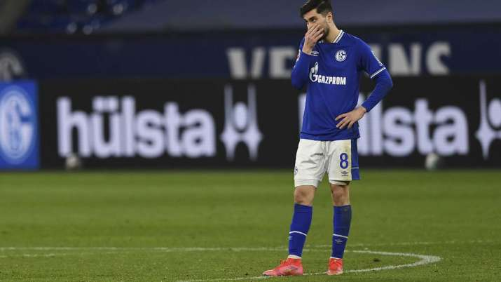 Schalke's Suat Serdar reacts during the German Bundesliga