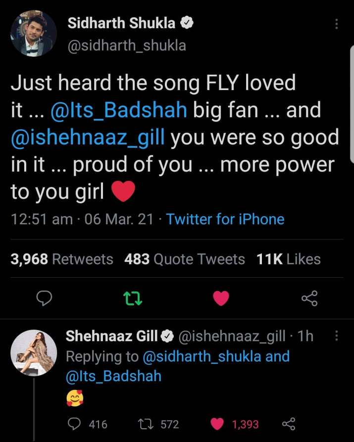 India Tv - Sidharth Shukla compliments Shehnaaz Gill for FLY song with Badshah